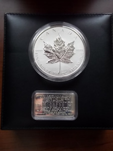 1998 10 ounce PURE SILVER MAPLE LEAF Commerative