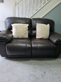 2 brown 2 seater recliner sofas
