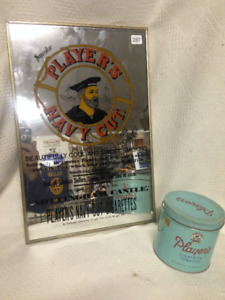VINTAGE PLAYER'S NAVY CUT CIGARETTE TOBACCO MIRROR & TIN
