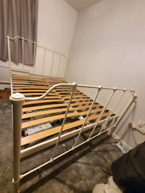 Original Bed Company ivory Iron king bed frame