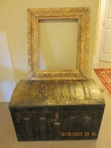 Antique wooden chest and two picture frames