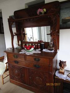 Lg. Solid Oak Buffet Hutch with Mirror