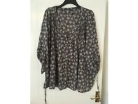 Size 20 (prob fit up to 24 - very generous sizing) Evans grey blouse