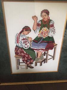 Cross Stitch - Ukrainian Girls Sewing