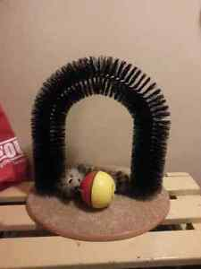 Self grooming cat brush and cat toy