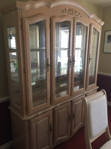 Beautiful Glass China Cabinet + Black Iron Glass Table & Chairs