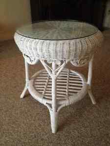 70's wicker plant stand, table, trunk