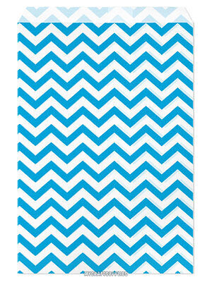100 Flat Merchandise Paper Bags 6x9bright Light Blue Chevron Stripes On White