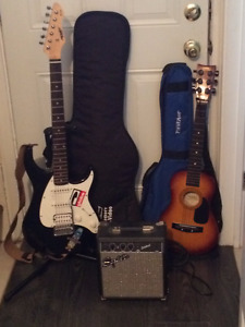 Peavey Electric Guitar and Squier amp