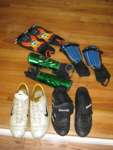 Soccer cleats - size 12 and 14,  and Shin Guards