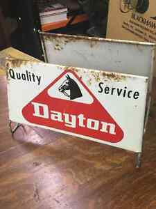 Dayton Tire Advertising Tire Stand Tin Signs