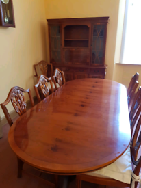 Art deco style yew dining table, chairs and side units