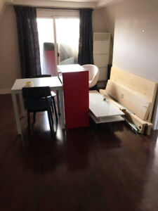 Moving out sale: bedframe, tv stand, dresser, table and chairs