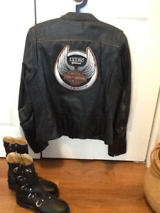 Harley Davidson leather jacket and Element X boots