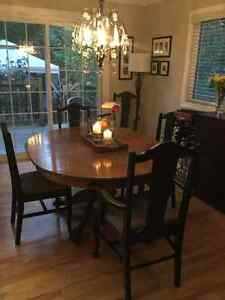 Antique solid oak dining set