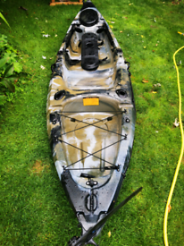 Fishing kayak with foot rudder steering