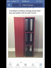 Pillar box red leather cd/DVD storage boxes