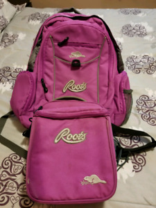 Roots backpack and lunch bag