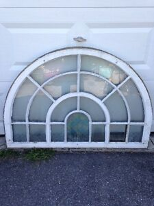 Rare antique architectural wood frame window, Quebec Church