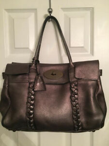 da85283e35c5 Authentic - Mulberry Bayswater Bag - Gunmetal Metallic Leather