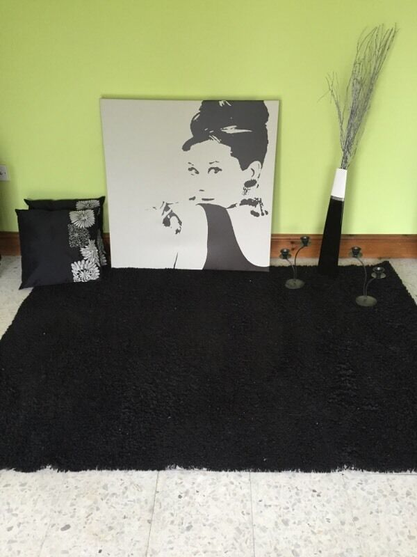 Black rug large canvas black vase in Abercynon  : 86 from www.gumtree.com size 600 x 800 jpeg 49kB