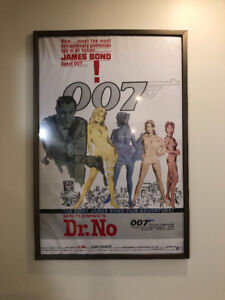 Large Wall Professionally Framed James Bond Movie Poster & More