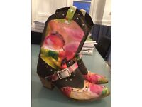 Unique hand painted cowboy boots size 6 (39)
