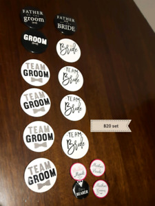 15 pc set of Bridal Party buttons