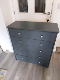 Grey Painted Pine Chest of Drawers