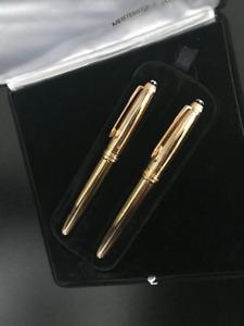 Vermeil MONTBLANC MEISTERSTUCK 144 Set Ag 925 Gold Plate 18K Nib