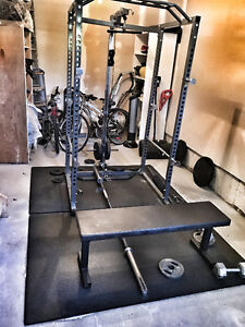Home Gym for sale!! Power Rack, Olympic bar, weights, cables