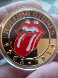 Large 40mm Rolling Stones Gold Plated Colored and Polished Coin.