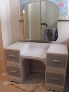 Vintage vanity with mirror and chair