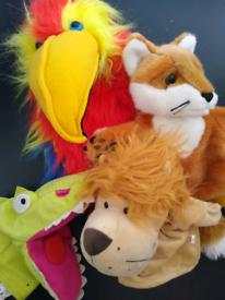 Hand puppets 4 animals lion fox crocodile parrot