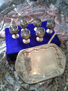 Indian brass set of 6 mini goblets with tray in velvet box
