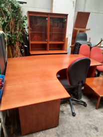 executive desk with 2 matching bookcases