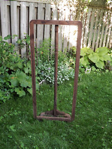 WOODEN MIRROR FRAME AND STAND: NEEDS SOME TLC!