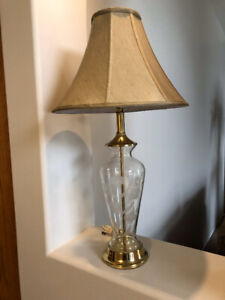 Set of Vintage Glass and Brass Lamps
