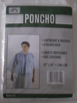 "2 ADULT RAIN PONCHOS W/ HOOD WHITE WATERPROOF 2 LOT 52"" X 80"