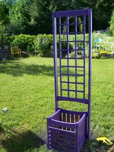 Great Old  Painted Purple Wood  Planter and Trellis