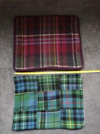 Tartan or checked cushion covers