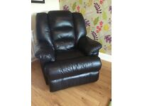 Recliner black leather chair and 2 seater sofa