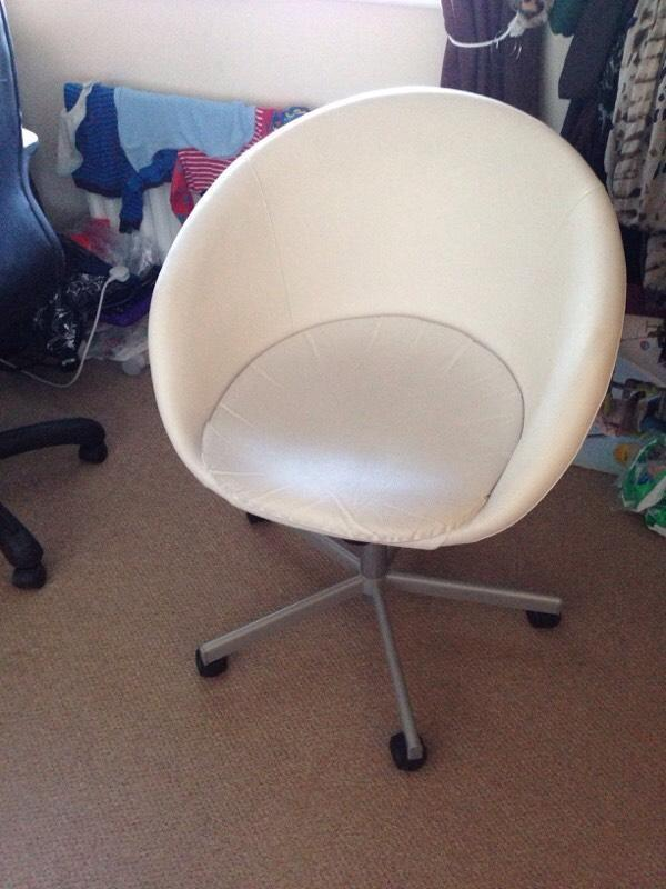 Cream Leather Home Office Study Desk Chair Seat Swivel Retro Designer Egg Sha