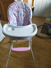 Red Kite pink and white flower baby highchair