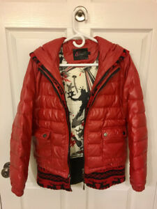 Women's outwear jacket with pu leather