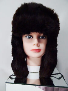 RUSSIAN FUR HAT shapka ushanka treukh EAR FLAPS trooper SABLE Kitchener / Waterloo Kitchener Area image 1