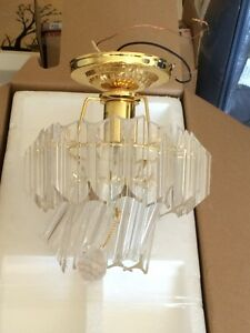 Gold and glass vintage ceiling light fixture