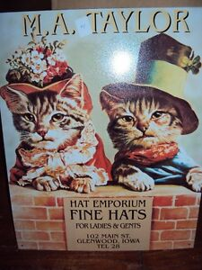 MA Taylor Hat Emporium repro tin advertising sign ~16x12