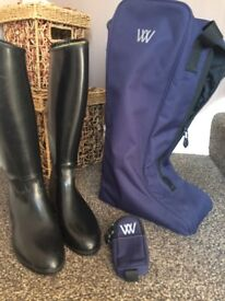 Aigle Riding boots and Just togs Riding Hat, see description, Both Excellent