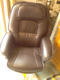 Swivel arm chair good condition leather look